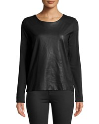 Majestic Leather Front Long Sleeve Top Black