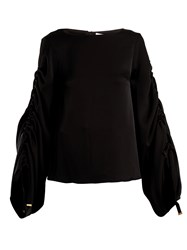 Osman Cyllene Gathered Sleeve Crepe Top Black