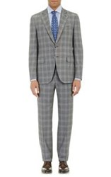 Isaia Plaid Gregory Two Button Suit Grey