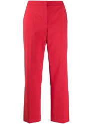 Escada Cropped Flare Trousers Red