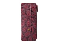 Lodis Party Python Credit Card Case With Zipper Pocket Sangria Credit Card Wallet