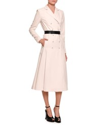 Bottega Veneta Double Breasted Coat Dress W Leather Belt White Black White Black