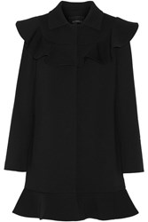 Goen J Ruffled Wool Blend Coat Black