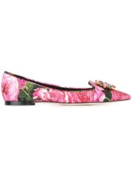 Dolce And Gabbana Bellucci Brocade Slippers Pink Purple