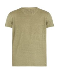 120 Lino Short Sleeved Linen T Shirt Khaki