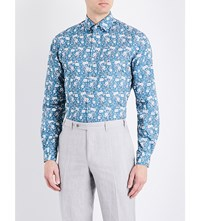 Duchamp Floral Print Tailored Fit Cotton Shirt Turquoise
