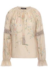 Love Sam Woman Lattice Trimmed Gathered Embroidered Mousseline Blouse Neutral