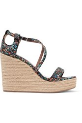 Tabitha Simmons Jenny Cutout Floral Print Canvas Wedge Sandals Multi