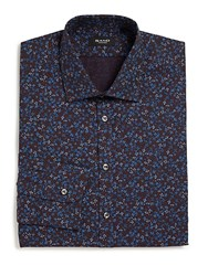 Sand Regular Fit Floral Print Sport Shirt Burgundy