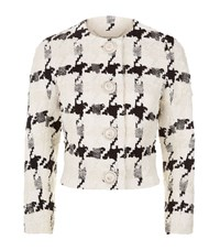 Alexander Mcqueen Large Houndstooth Boucle Jacket Female White