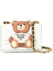 Moschino Toy Bear Paper Cut Out Crossbody Bag White