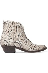 Golden Goose Young Distressed Snake Effect Leather Ankle Boots Snake Print