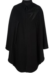 Alexander Mcqueen Swallow Embroidered Cape Black