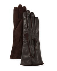 Mario Portolano Leather And Suede Tassel Gloves Black Chocolate
