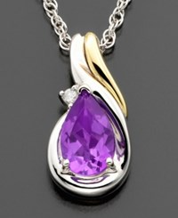 Macy's 14K Gold And Sterling Silver Amethyst 3 4 Ct. T.W. And Diamond Accent Pendant
