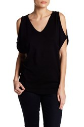 Joseph A V Neck Cold Shoulder Sweater Black