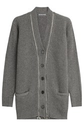 Alexander Mcqueen Cashmere Cardigan With Embellished Zippers Grey