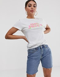 Juicy Couture By 100 Slogan Tee White