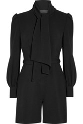 Co Pussy Bow Crepe Playsuit Black
