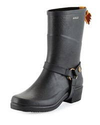 Aigle Miss Julie Harness Detailed Mid Calf Rainboot Noir