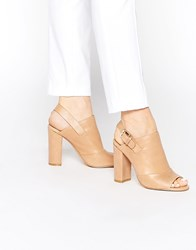 Faith Dre Nude Peep Toe Shoe Boots Beige