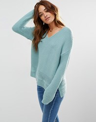 Asos Ultimate Chunky V Neck Jumper With Stitch Detail Green