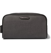 Ermenegildo Zegna Leather Trimmed Herringbone Coated Canvas Wash Bag Gray