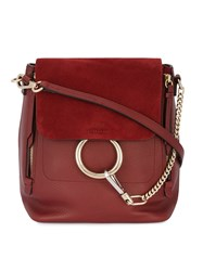 Chloe Red Faye Backpack Women Leather Suede One Size