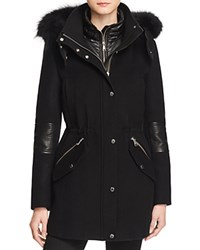 Andrew Marc New York 2 In 1 Fox Fur Trim Coat Black