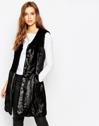 Urbancode Faux Fur Gilet With Tonal Patchwork Black