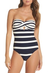 Ted Baker London Texture Stripe One Piece Bandeau Swimsuit Navy
