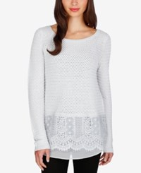 Lucky Brand Lace Contrast Sweater Micro Chip