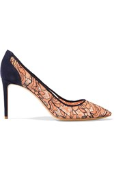 Nicholas Kirkwood Angie Lace And Suede Pumps Orange