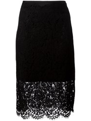 Diane Von Furstenberg Sheer Lace Pencil Skirt Black