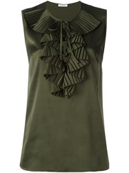 P.A.R.O.S.H. Sleeveless Ruffle Blouse Green