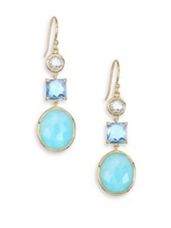 Ippolita Rocky Candy Blue Topaz Swiss Blue Topaz And 18K Yellow Gold 3 Stone Drop Earrings Gold Blue