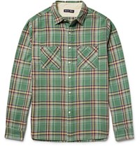 Alex Mill Checked Cotton Flannel Shirt Light Green