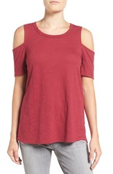 Pleione Women's Cold Shoulder Short Sleeve Tee Burgundy