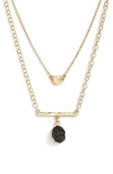 Treasure And Bond Double Drusy Bar Pendant Necklace Black Gold