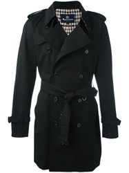 Aquascutum London Double Breasted Trench Coat Black