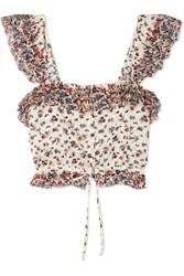 Loveshackfancy Mia Cropped Ruffled Floral Print Cotton Top Cream Gbp