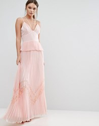 True Decadence Pleated Strappy Maxi Dress Light Pink