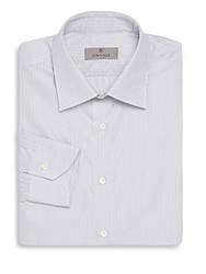 Canali Striped Modern Fit Spread Collar Cotton Dress Shirt Grey