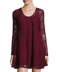 Romeo And Juliet Couture Long Sleeve Lace A Line Dress Burgundy