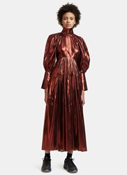 Ellery Contained Long Balloon Sleeved Metallic Pleated Dress Red