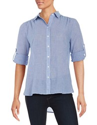 Lord And Taylor Gingham Button Front Shirt True Blue