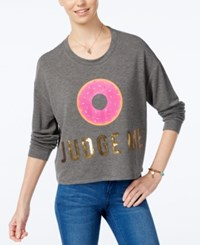Hybrid Juniors' Donut Sequin Cropped Graphic Sweatshirt Heather Charcoal