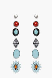 Boohoo Turquoise Floral Stud Earring Set Silver