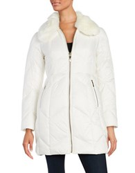 Kate Spade Faux Fur Collared Down Coat Winter White