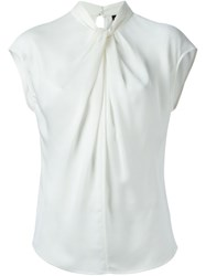 Giorgio Armani Draped Cap Sleeve Blouse White